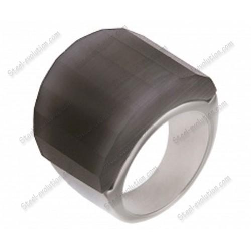 Женское кольцо из стали Дымка