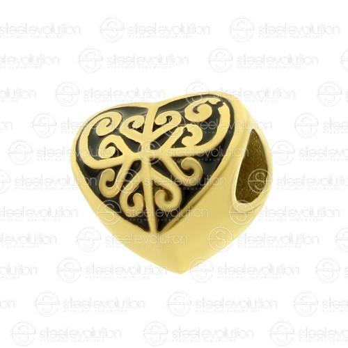 Бусина шарм для браслета медицинская сталь Золотое сердце