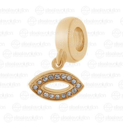 Бусина подвеска шарм для браслета медицинская сталь Глаз Шивы розовое золото