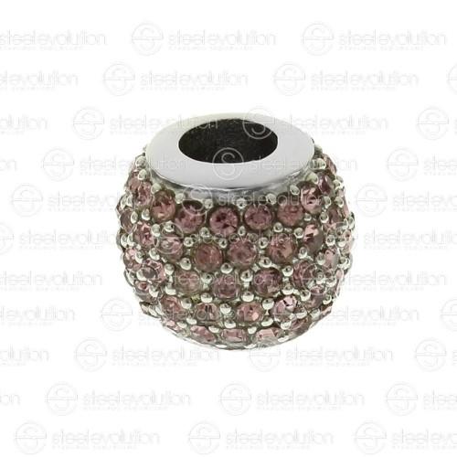 Бусина шарм для браслета медицинская сталь с темно-розовыми циркониями