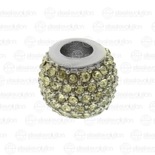 Бусина шарм для браслета медицинская сталь со светло-зелеными циркониями