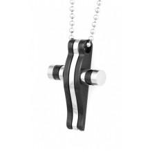 Крестик на шею из комбинированной стали