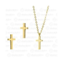 Набор украшений под золото крестик на цепочке и сережки