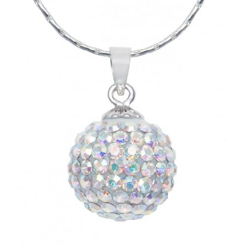 Женский кулон с белыми кристаллами
