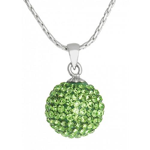 Женский кулон в форме шарика со светло-зелеными камнями