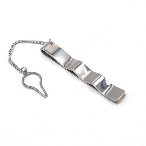 Зажим для галстука с серебристым орнаментом