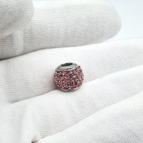 Бусина шарм для браслета медицинская сталь cо светло-розовыми циркониями