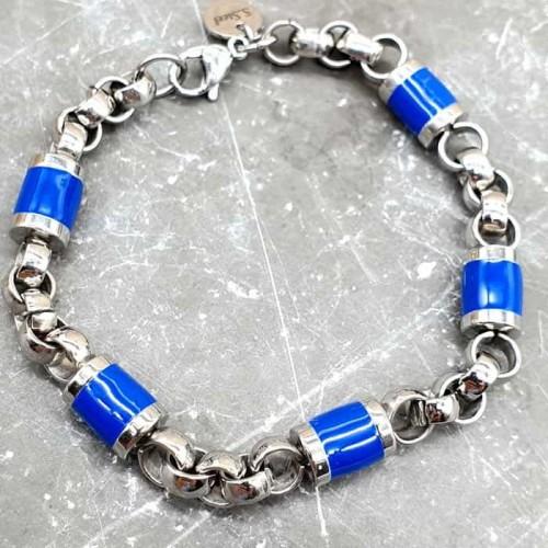 Эффектный стальной браслет с эмалевыми вставками ярко-синего цвета