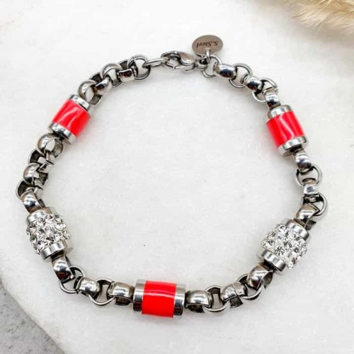 Браслет из стали со вставками красной эмали и кристаллами Swarovski