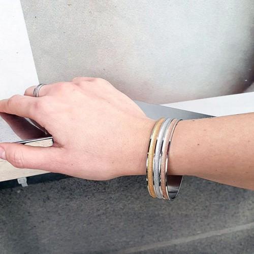 Стальной браслет жесткий комбинированная сталь