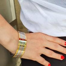 Стальной жесткий браслет на руку трехцветный