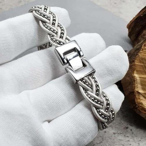 Белый браслет из плетеной натуральной кожи Элоиза