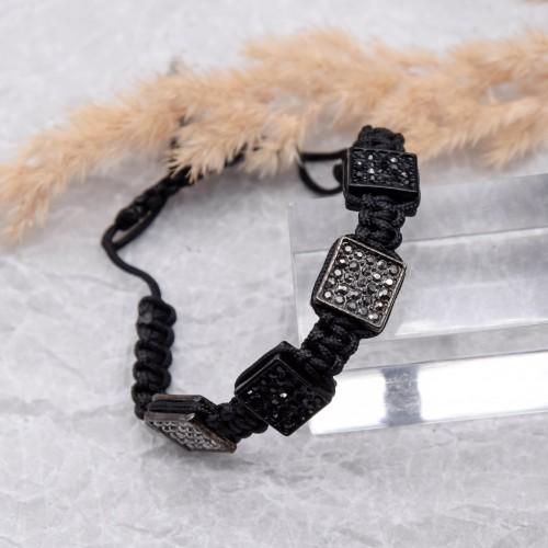 Браслет из черных текстильных шнуров на руку женский