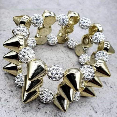 Эластичный браслет с шипами и бусинами Золотистый шип