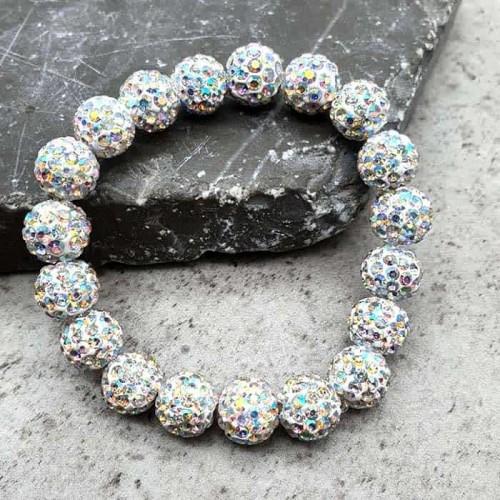 Браслет шамбала с кристаллами цвета хамелеон