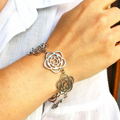 Браслет-цепочка из стали на руку Семь цветков