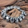 Звеньевой браслет из крупных стальных черепов купить №8
