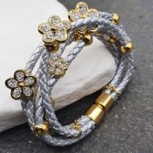Серебристый браслет из плетеной кожи и медицинского золота Серебряный цветок