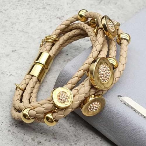 Женский кожаный браслет с магнитной застежкой Гармония