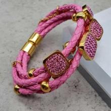 Модный кожаный браслет на руку на магнитной застежке