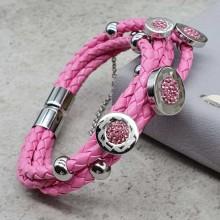 Розовый браслет из плетеной кожи и стали женский