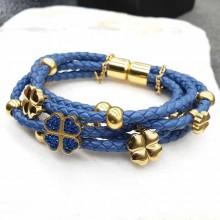 Стильный браслет из плетеной кожи и ювелирного сплава Синяя птица