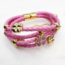 Яркий браслет из розовой плетеной кожи и стали Праздничное настроение