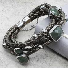 Плетеный браслет на руку из натуральной кожи и стали