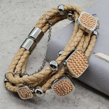 Элегантный кожаный многослойный браслет на руку