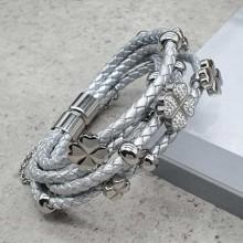 Серебристый браслет косичка с магнитной застежкой из стали