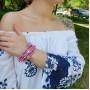 Кожаный браслет плетенка розовый со стальным замком купить №2