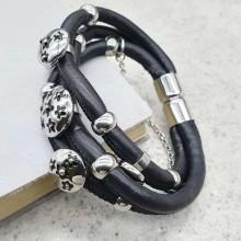 Черный браслет кожаный женский Пять лепестков