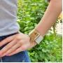Белый браслет из натуральной кожи и ювелирного сплава Блонди купить №3