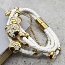 Модный браслет на руку из натуральной белой кожи