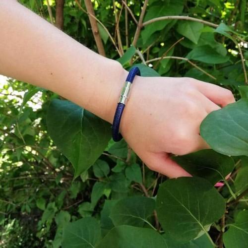 Браслет из натуральной кожи на руку Синий бархат