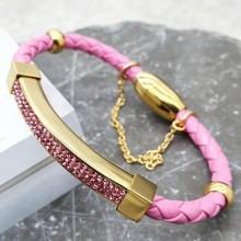 Эффектный браслет из натуральной кожи с розовыми циркониями