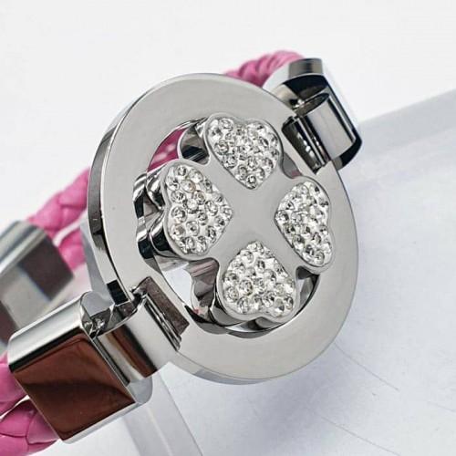 Женский кожаный браслет со стальной магнитной застежкой