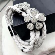Стильный браслет на руку из натуральной плетеной кожи Белый цветок