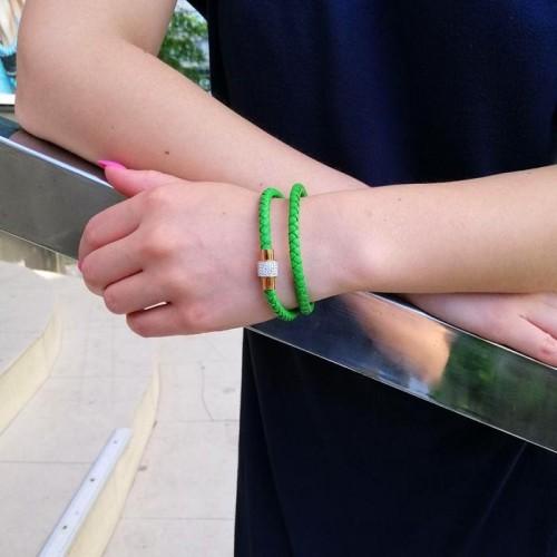 Браслет из кожи и стали на два оборота зеленый