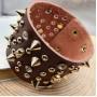 Кожаный браслет с черепами и шипами коричневого цвета купить №1