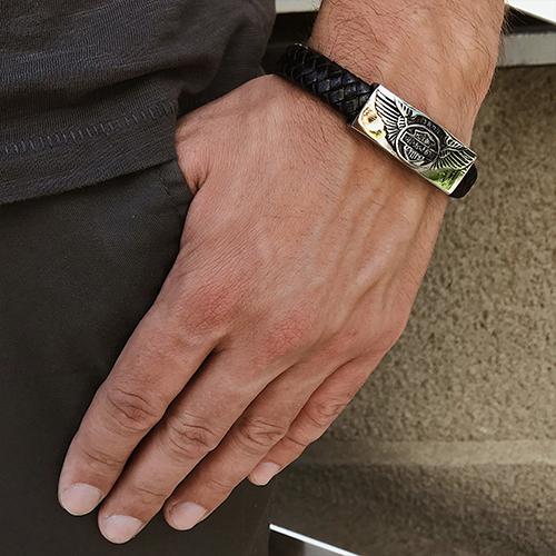Мужской браслет из плетеной кожи Харлей