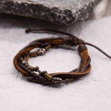 Мужские кожаные браслеты Цвет изделия Коричневый купить №19