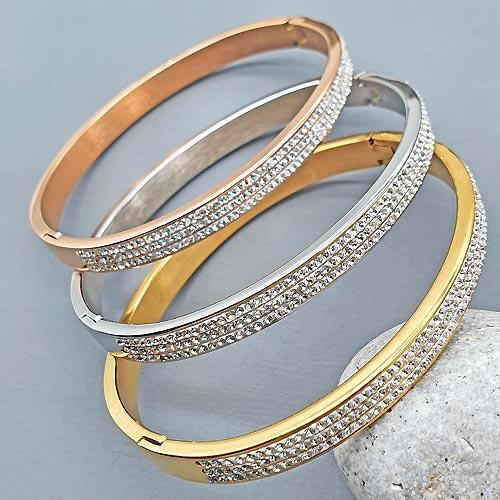 Браслет каркасный из стали с PVD покрытием под розовое золото