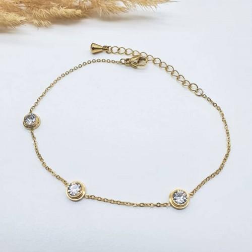 Стальной браслет-цепочка на руку с тремя кристаллами