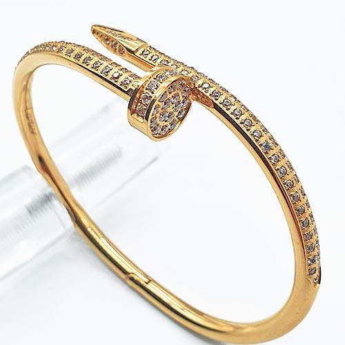 Браслет Гвоздь из ювелирного металла с покрытием под золото и циркониями
