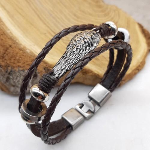 Браслет из коричневой кожи мужской Крыло орла