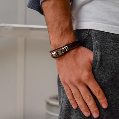 Кожаный браслет фенечка Мальтийский крест