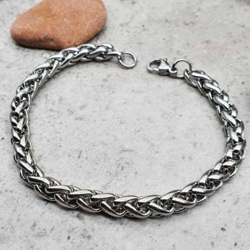 Стальной браслет-цепочка плетение колосок