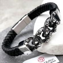 Мужской браслет из плетеной кожи с панцирным плетением и черепами