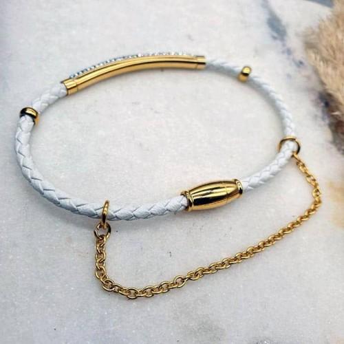 Женский браслет из плетеной белой кожи Карамболь